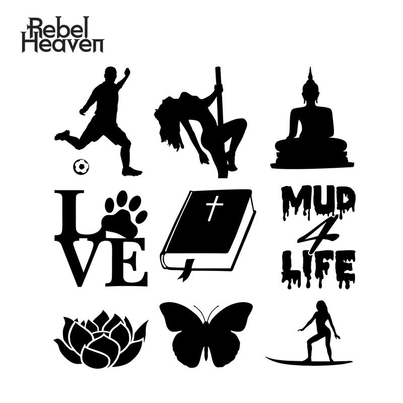 Coche Rebel Heaven con estilo divertido JDM Biblia Dios Jesús sentado Budda Buda mariposa vinilo pegatina coche para Auto ventana parachoques