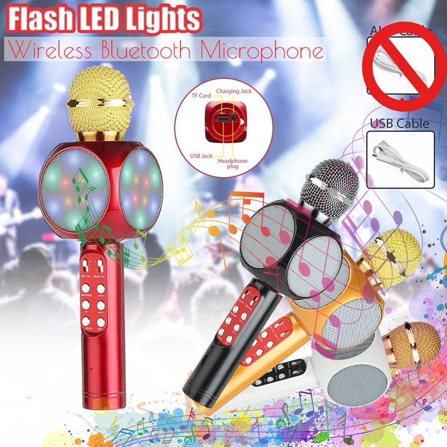 Jrgk moda flash led luz preto vermelho sem fio microfone ws1816 handheld bluetooth microfone leitor de música móvel