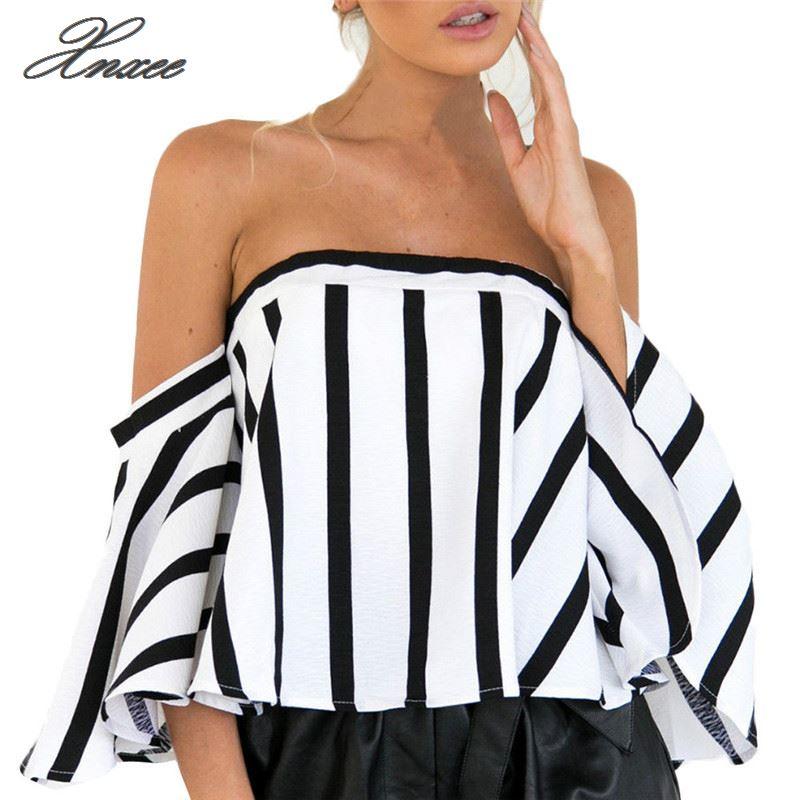 Blusa de manga corta informal a rayas para mujer blusas elegantes con hombros descubiertos para mujer