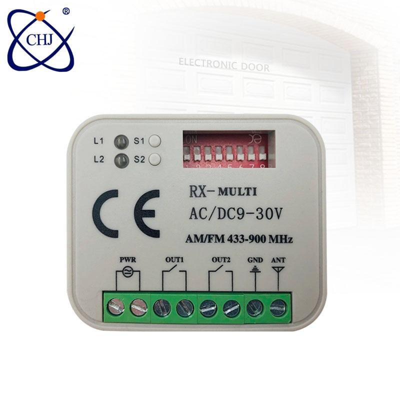 Multi módulo sem fio universal do receptor do relé do interruptor de controle remoto 2ch 280-868 mhz e controles remotos do rf 433 mhz