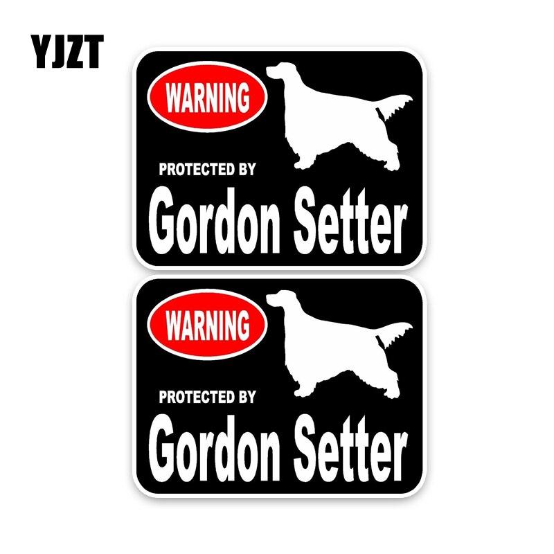 YJZT 15*11,4 CM 2X Gordon Setter guardia perro de dibujos animados Pet PVC pegatina decorativa para coche C1-4413