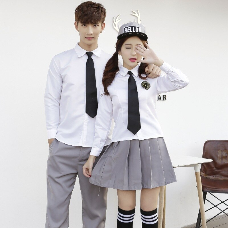 Uniforme para estudiantes de la universidad, traje de marinero de la escuela secundaria, traje de pareja de manga larga, Falda plisada uniforme D-0225