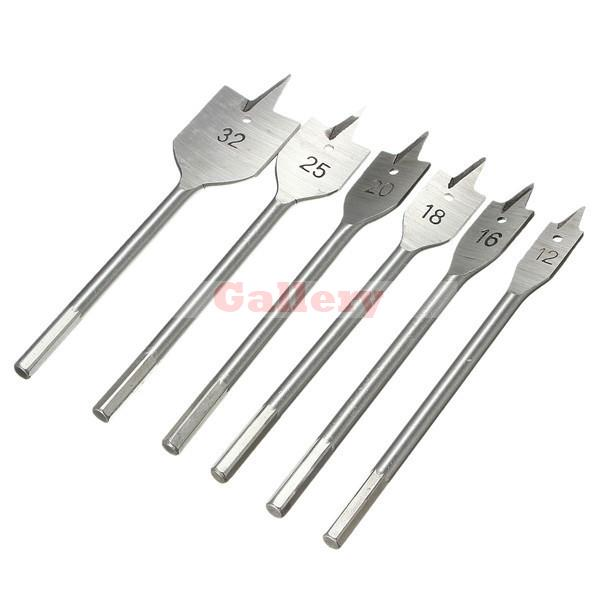 2 Sets Lot 6pcs 12-32mm Stainless Wood Flat Drills Bits Hex Shank Spade 12 Drill Bit