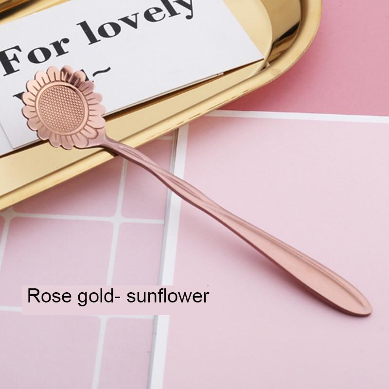 Juego de 10 tazas de té de acero inoxidable con diseño moderno de flores de color dorado rosa revolviendo la mezcla de helados y cucharas de café
