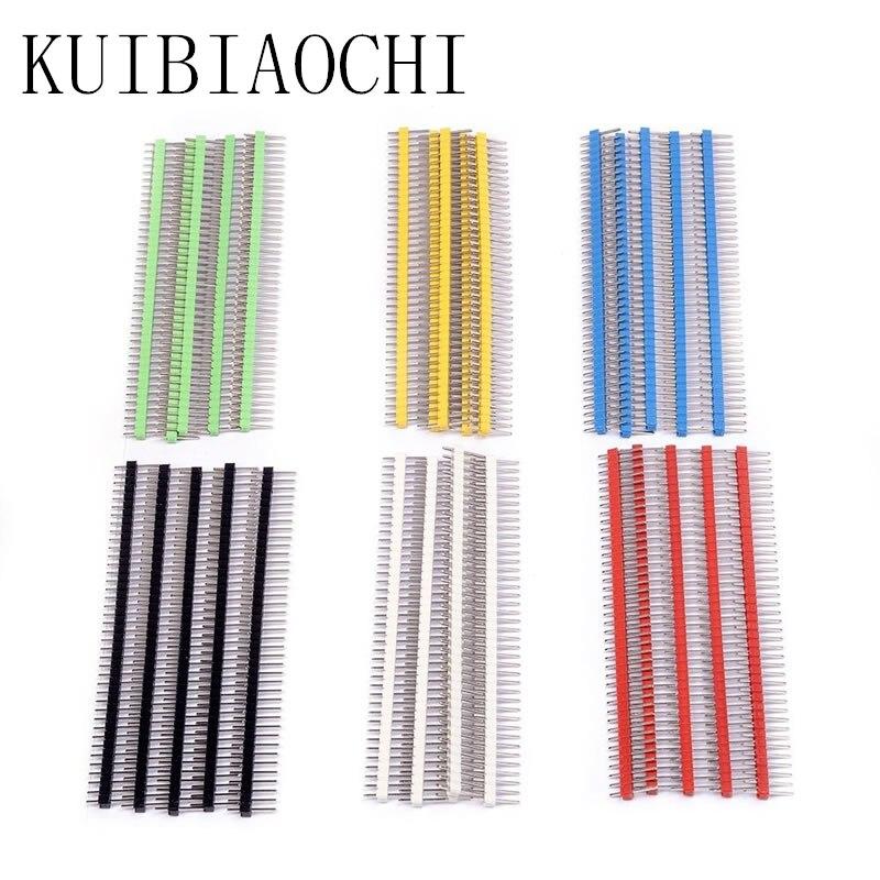 30 pçs/lote Pin Conector Macho Tira Cabeçalho Pin Única Linha 2.54 milímetros Pitch 40 pin Kit Conector para PCB board cores Cada 5 6 pcs