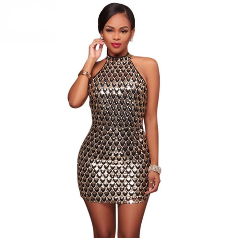 Erdaoben women Sexy Sequin Dress Gold summer Sheer Party Dress culb night party Bodycon Dresses Christmas Gift H6604