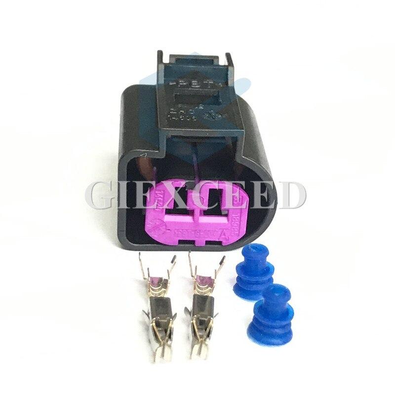 2 Sets 2 Pin 1J0973772 Female Waterproof Engine Speaker Housing Auto Generator Plug Socket For VW Magotan Sagitar CC