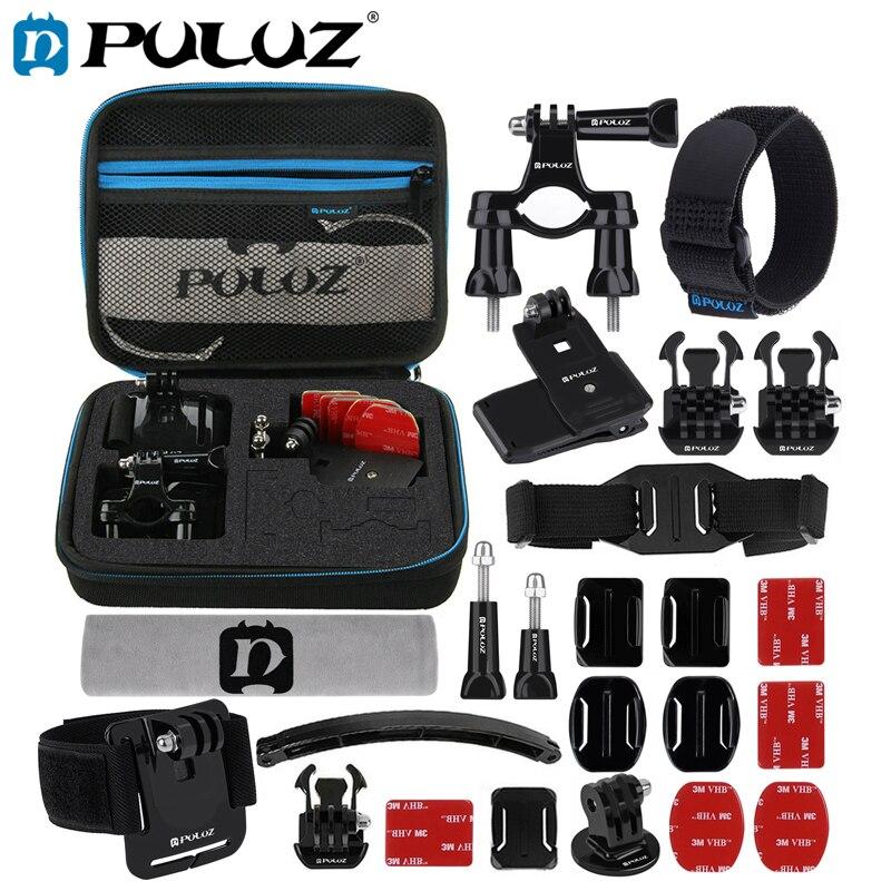 Набор аксессуаров PULUZ для GoPro Hero6 24 en 1, комплекты комбинированных аксессуаров для монтажа велосипеда + комплекты чехлов EVA par