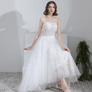 Simple Wedding Dress 2020 Strapless Bridal Gown Charming High Low Hem Formal Dress Lace Bridal Dress Vestido De Noiva