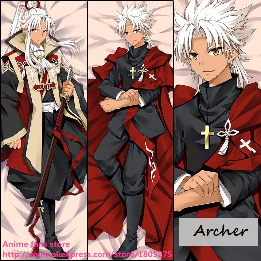 Anime Fate Stay Night Archer Masculino Fresco Japonés Abraza consejo de almohada Cubierta Funda de Almohada decorativa ropa de Cama