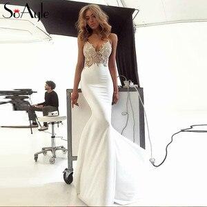 Женское вечернее платье-Русалка SoAyle, белое длинное кружевное платье для выпускного вечера, бальное платье с аппликацией для дня рождения, ...