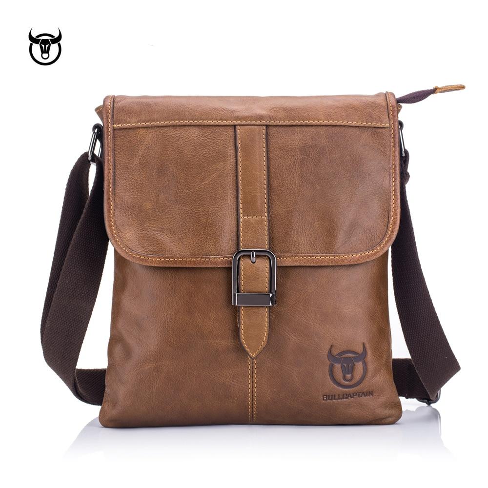 BULLCAPTAIN vintage Genuine Leather Men's Messenger bag cow leather shoulder bag for male fashion man crossbody bag Handbags