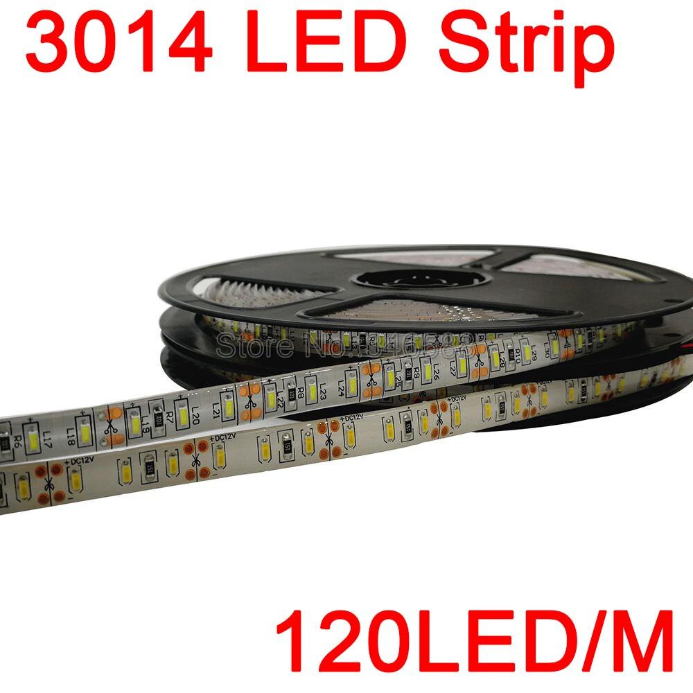 5M/Roll 600LEDs Super Bright 3014SMD DC12V 120led/m Flexible LED Strip IP65 Epoxy Resin Waterproof, white/warm white Color