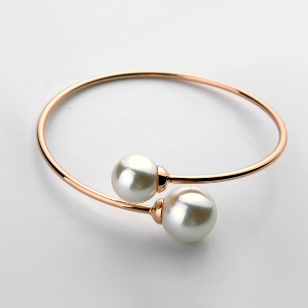 Nueva oferta, brazalete TracysWing para mujer, brazalete de Color oro rosa perla anti alérgico # RG31787Rose