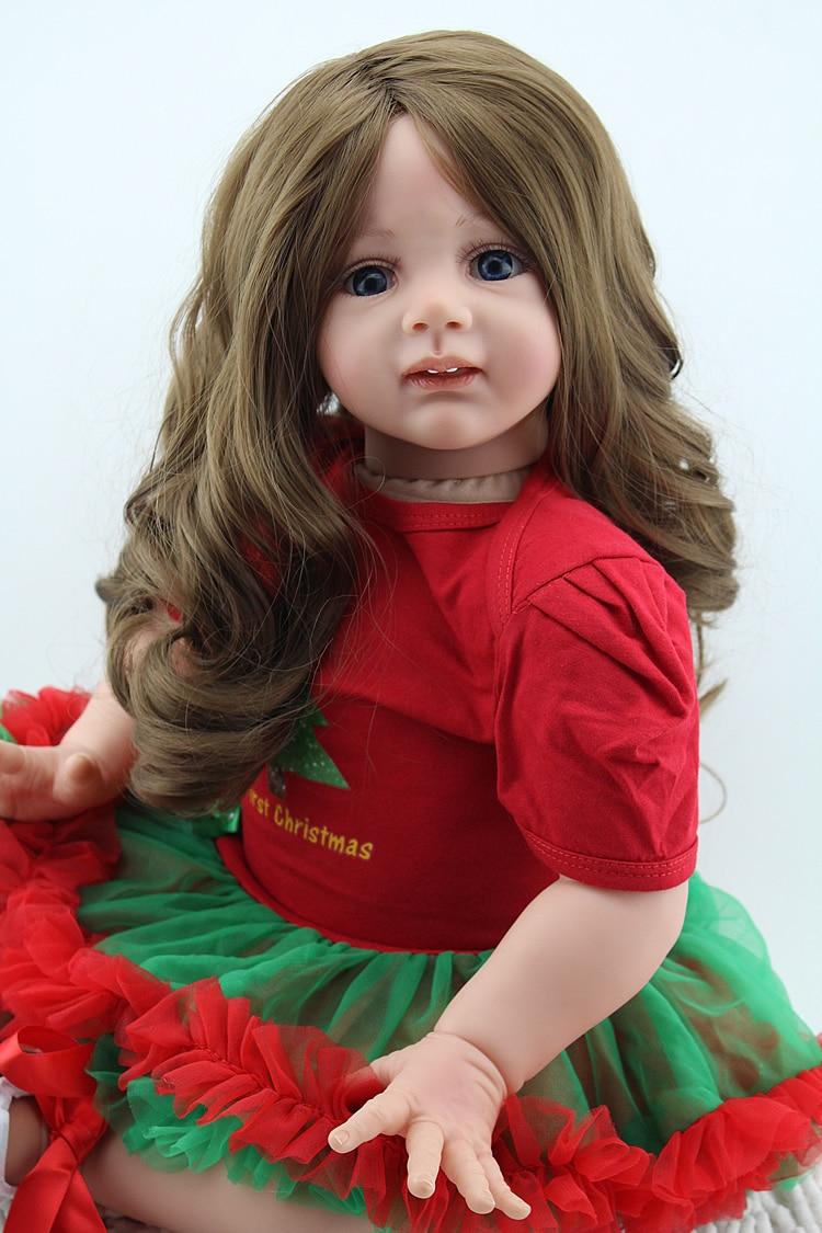 """NPK muñeca de niña real reborn 24 """"60CM de silicona bebé reborn muñecas realistas pelo largo vestido rojo muñecas para niñas regalo de cumpleaños"""