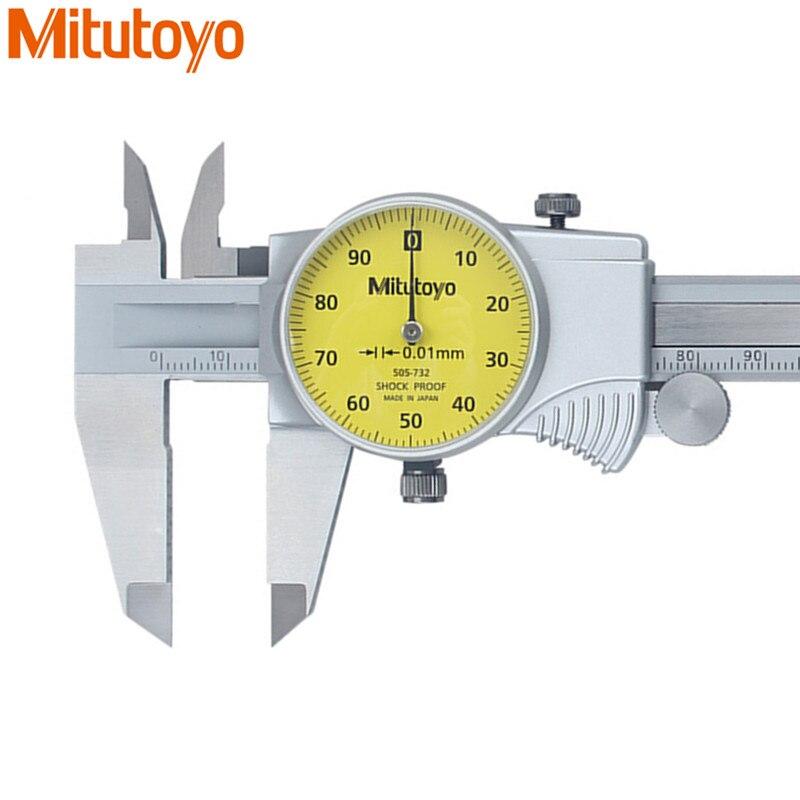 Original mitutoyo dial caliper 0-150mm/0.01 505-732 calibre de aço inoxidável vernier pinças paquimetro ferramentas de medida