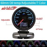 GDy Gauge Oil Temp Gauge 7 Light Color LCD Display With Voltage Oil Temperature Gauge 62mm 2.5 With Sensor Greddi Gauge
