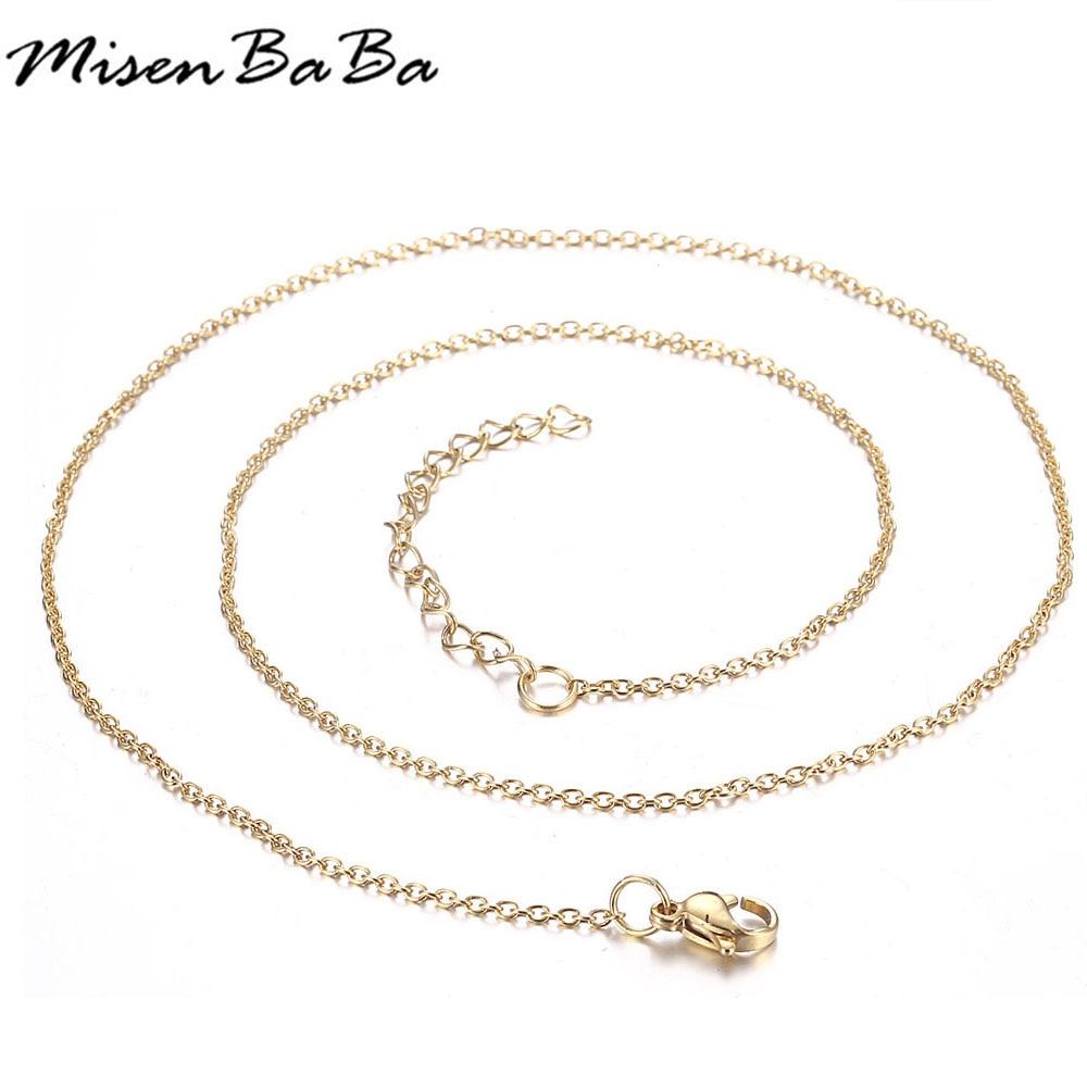 10 piezas de oro de acero inoxidable de Color O forma delgada cadenas para joyas de bricolaje accesorios (ajustable tamaño 50 mm)