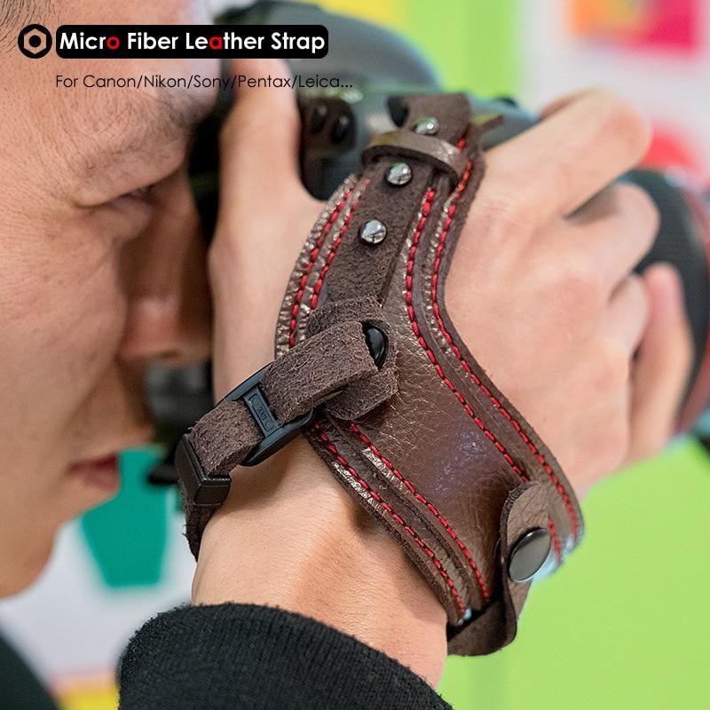 Cámara fotográfica Micro fibra cuero correa de muñeca DSLR soporte con correa a prueba de golpes correas para Canon Nikon Sony Pentax Leica