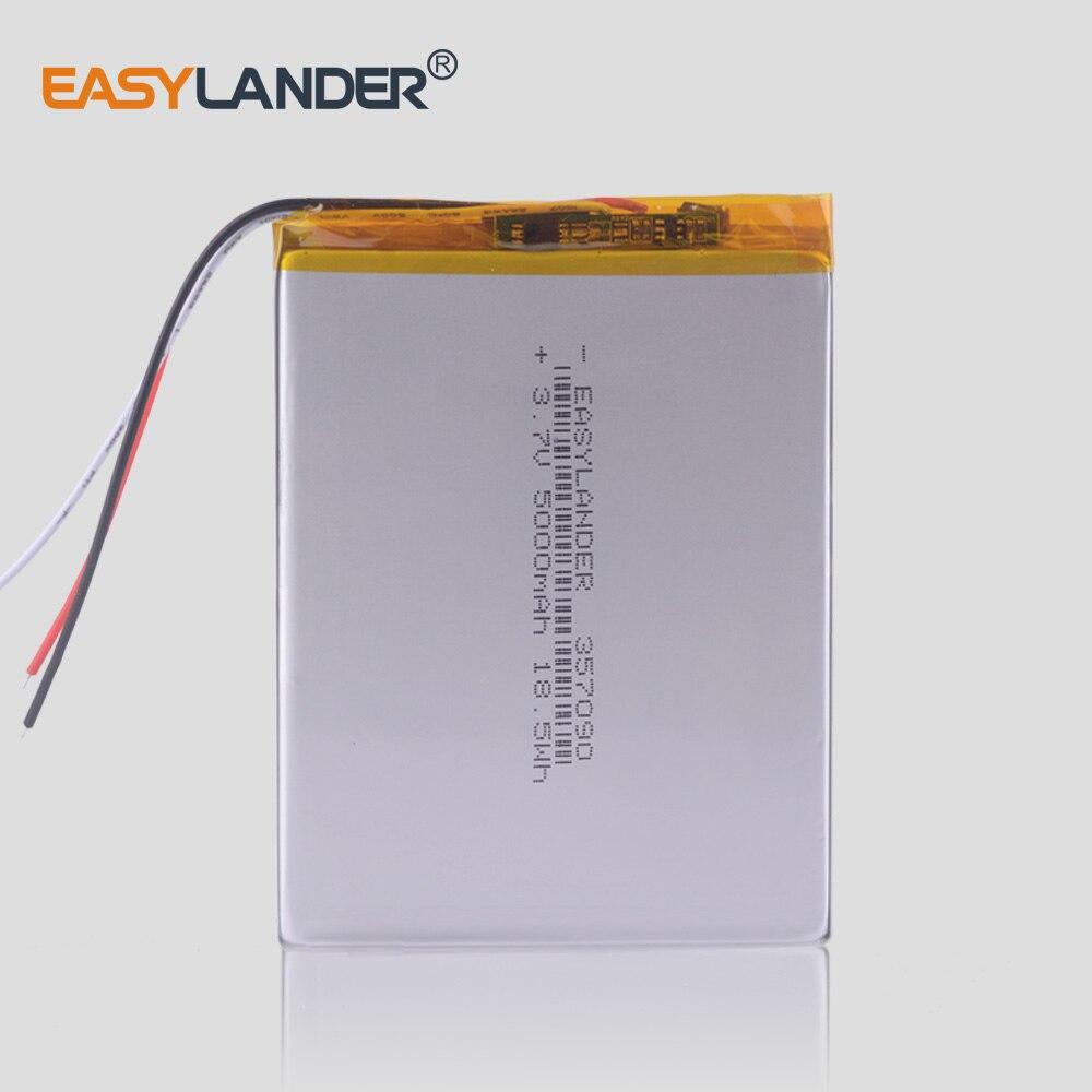 "5000mah 7 ""8"" 9 ""tablet batería de pc polímero de litio li-po Li ion pilas recargables 357090 3,7 v 3 cables para KUBI U25GT"