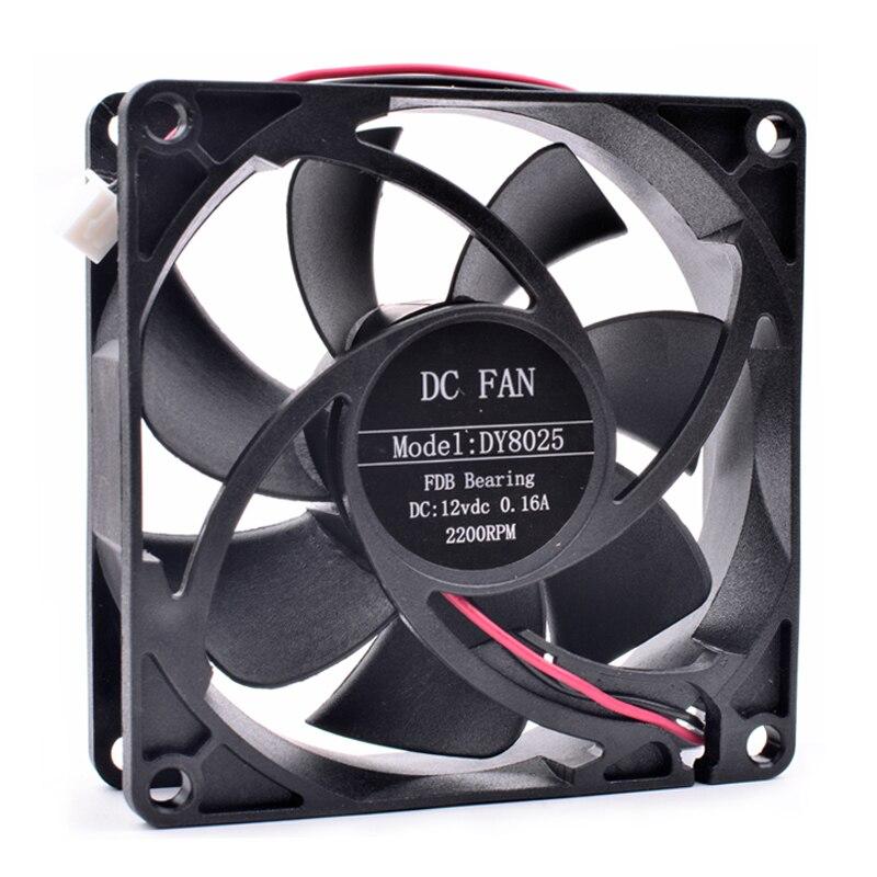 Nuevo ventilador original DY8025 8cm 8025 80x80x25mm 80mm 12V 0.16A 2 Línea chasis de la computadora ventilador de refrigeración de potencia