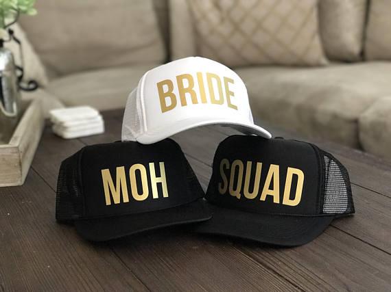 Personalizado Bride squad MOH Dama de Honor de boda despedida de soltera partido Gorra estilo béisbol de rejilla gorra de camionero regalos Decoración
