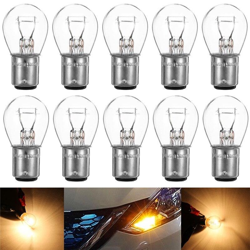 Mejor Precio DC12V 10 Uds 1157 BAY15D LED luz intermitente coche barco inversa de freno de lámpara de cola transparente luz bombilla de luz