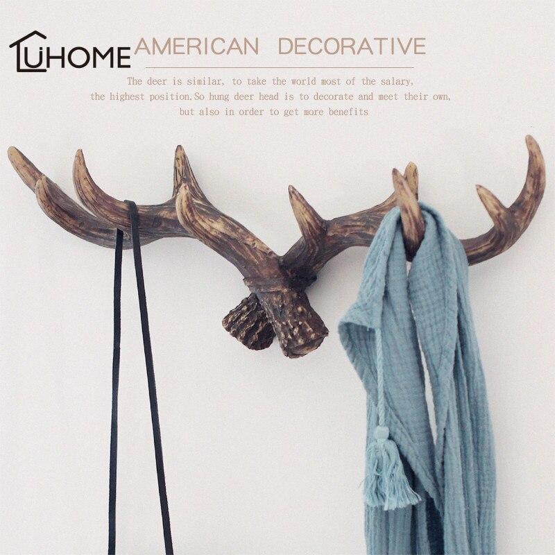 Vintage Rustic Cast Resin Deer Antlers Coat Rack Key Bag Holder Home Wall Decorative Rack Bathroom Towels Hanger