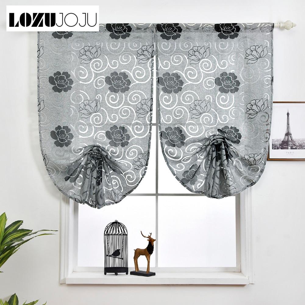 1 piece Modern design roman curtain gray red short floral tie up small balloon jacquard fabrics curtain for kitchen window door