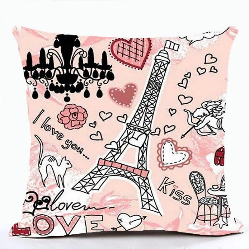 Rosa lolita estilo capa de almofada romântico frança torre eiffel paris fronha sofá para cadeira carro lance housse de coussin