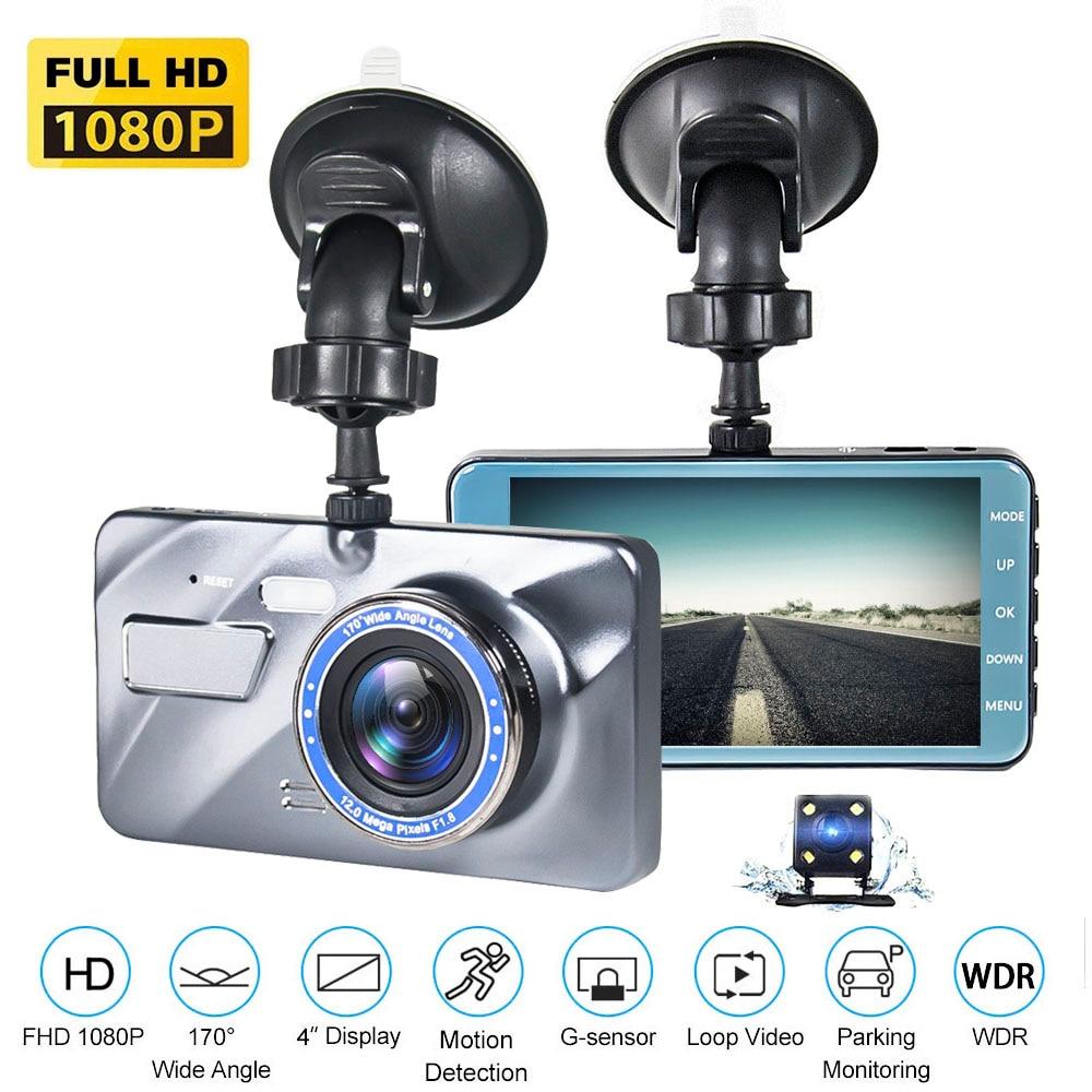 "Dash Cam New Dual Lens Car DVR Camera Full HD 1080P 4"" IPS Front+Rear 2.5D Mirror Night Vision Video Recorder Parking Monitor"