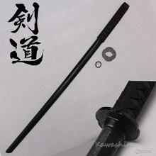 Hard Houten Zwaard Samurai Bushido Training Katana Bokken Praktijk Kendo Stick PU schede Schede-Zwart-100 cm