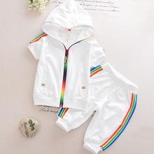 Детская одежда для мальчиков и девочек; Спортивная одежда; Летняя Модная одежда с короткими рукавами на молнии с капюшоном для девочек; Комп...
