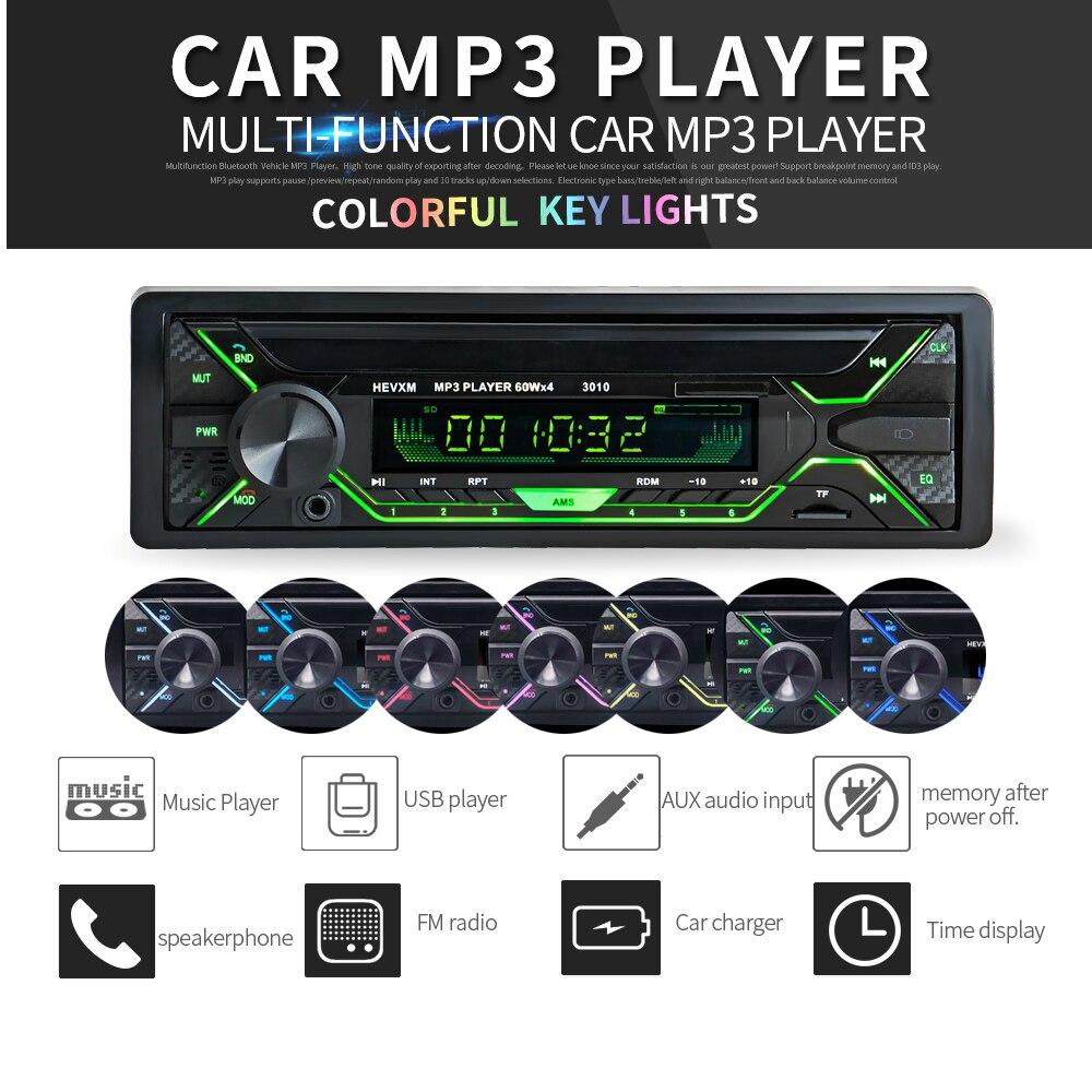 Nuevo reproductor de Audio y MP3 de Radio FM estéreo para coche con Bluetooth de 12 V, cargador de sistema electrónico para automóvil, Subwoofer 50W 1 DIN, autorradio con Control remoto