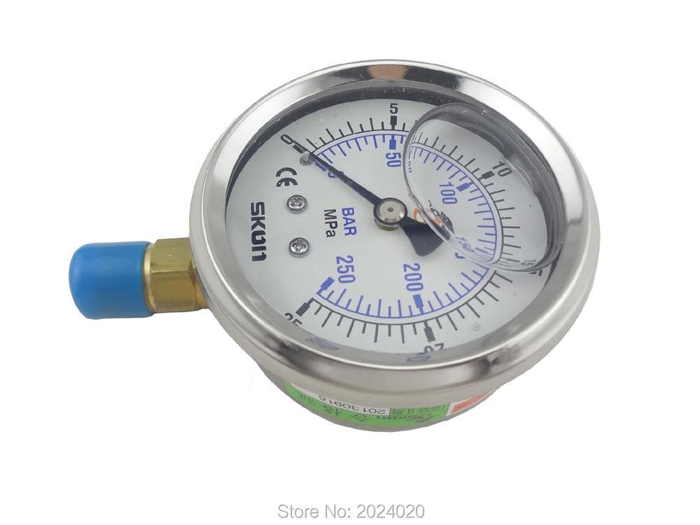 """10 Uds de 1/4 """"BSP Radial medidor de presión de conexión 25Mpa 250bar barra de latón"""