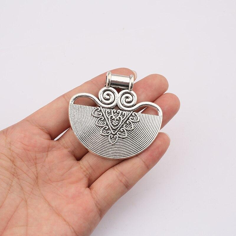 2 pçs grande lustre antigo semicírculo em forma de encantos pingentes para colar fazendo jóias descobertas 60x55mm