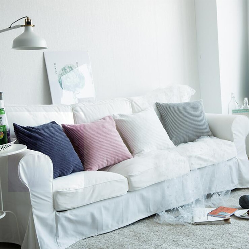 Funda de cojín de terciopelo Flocado de pana de Color sólido Negro Azul Rosa blanco gris funda de almohada suave funda de almohada decorativa 45/50/60cm