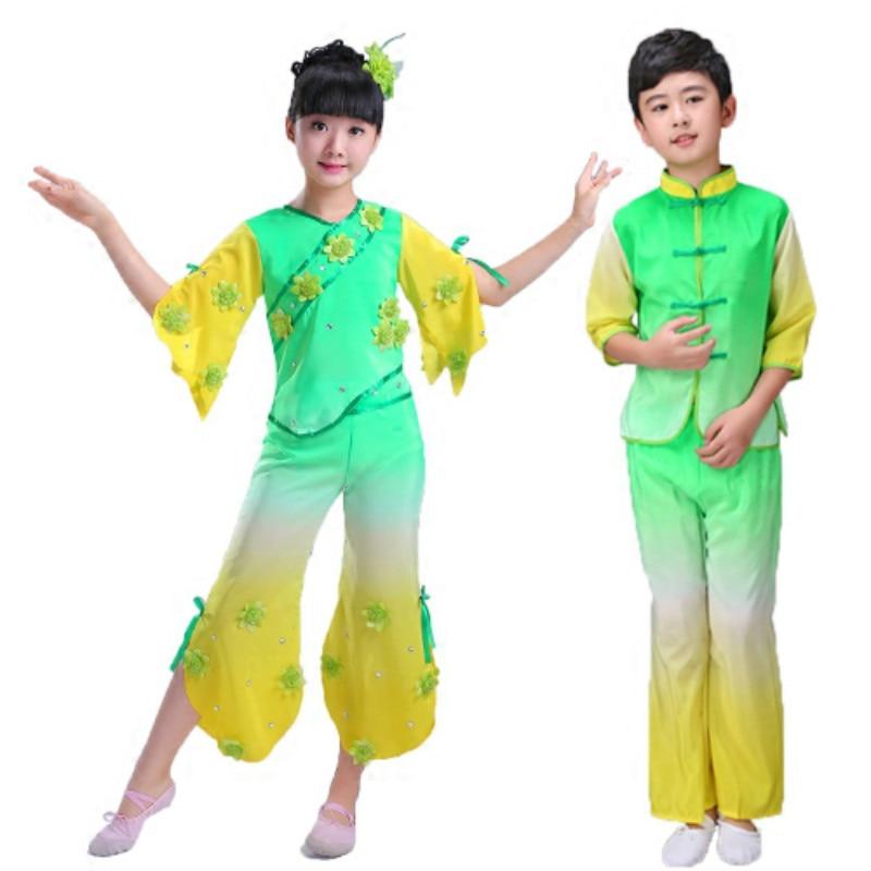 Girls' yangko clothing fan dance classical Chinese style Hanfu dance costume children's national dance performance clothing chinese style hanfu yangko dance clothes squares fan dance national dance clothes stage dance costume