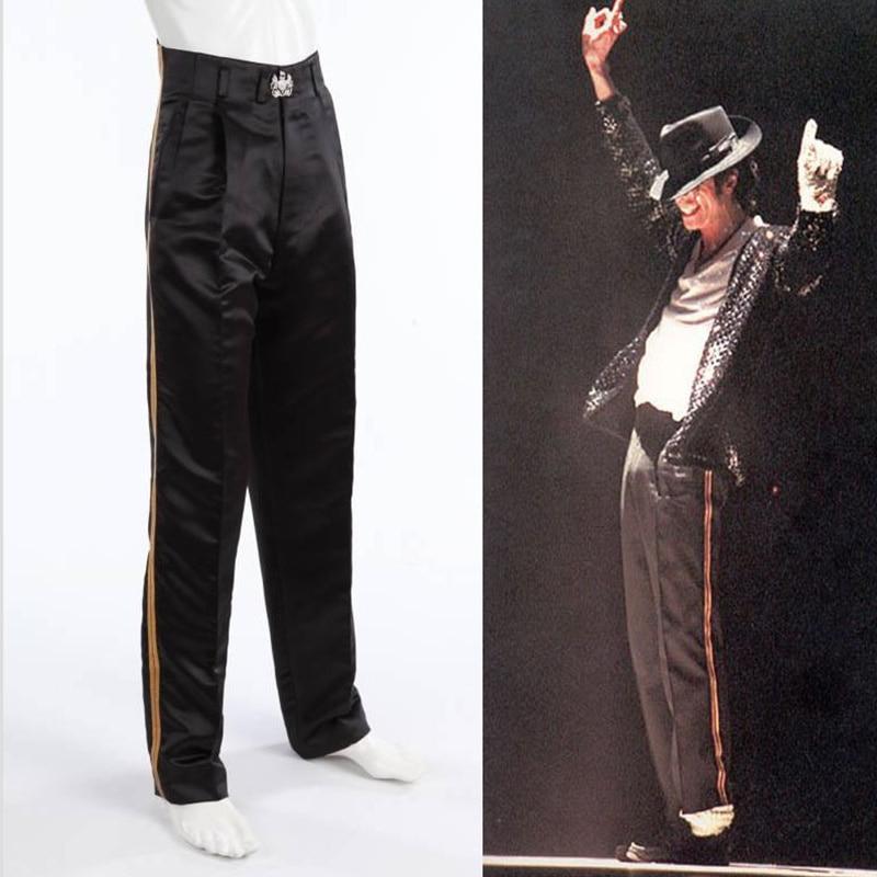 Rare MJ Michael Jackson Black Entertainers Golden Straight trousers pants for fans Billie Jean