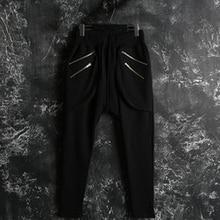 Male Casual Pants Korean New Pencil Pants Personality Trend Zipper Fashion Trousers Sagging Jeans Men Plus Size Harem Pants 44