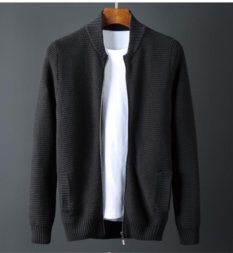 Top de talla grande de Otoño de marca de ropa de hombre suéter de algodón suelto cárdigan cuello alto estilo chino suéter M-6XL XXXL