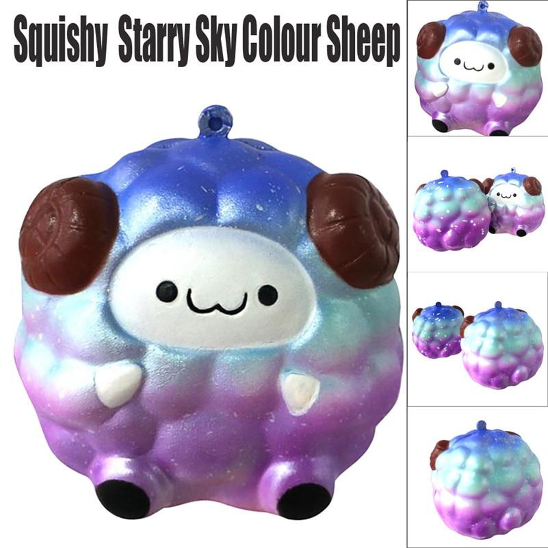 Lindo Mochi suave oveja dibujos animados Squishy Slow Rising Squeeze juguete para aliviar el estrés teléfono correas Ballchains para niños para chico A1