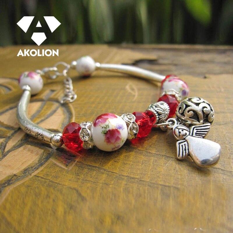 Pulsera de diseño Retro para mujer, brazalete rojo, joyas bohemias, joyería hecha...
