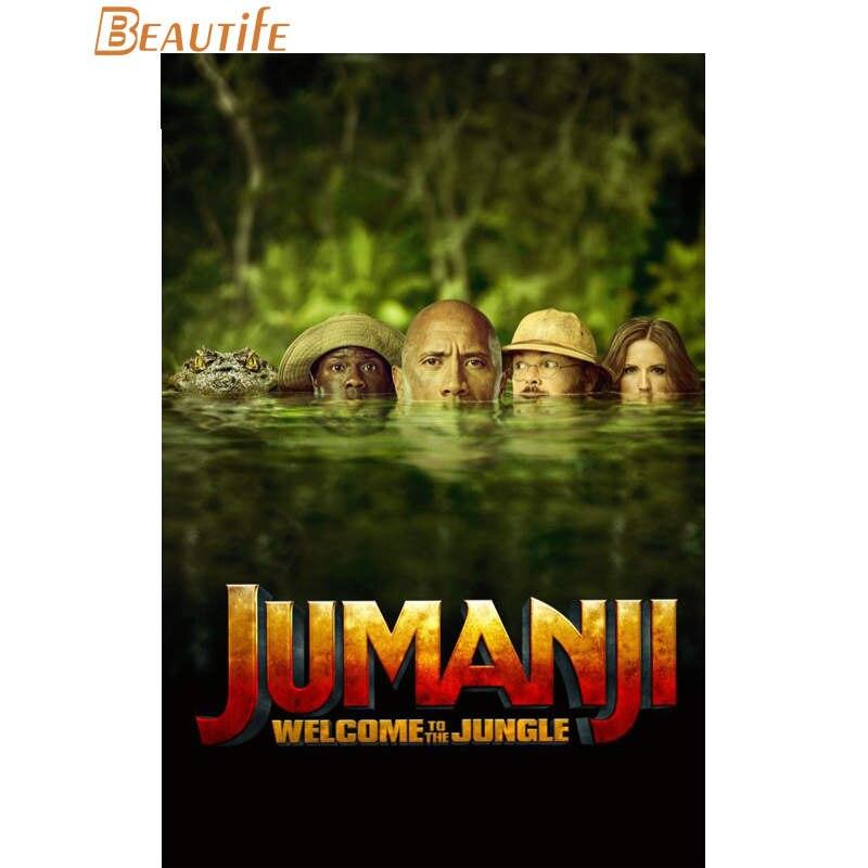 Gran oferta Jumanji personalizado: Cartel de bienvenida a la selva, decoración del hogar, póster de pared de tela de seda a la moda, póster personalizado