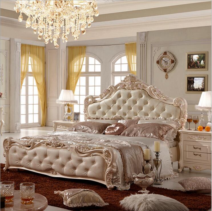 Moderno europeo de madera maciza cama de moda cuero tallado muebles franceses de dormitorio pfy10147