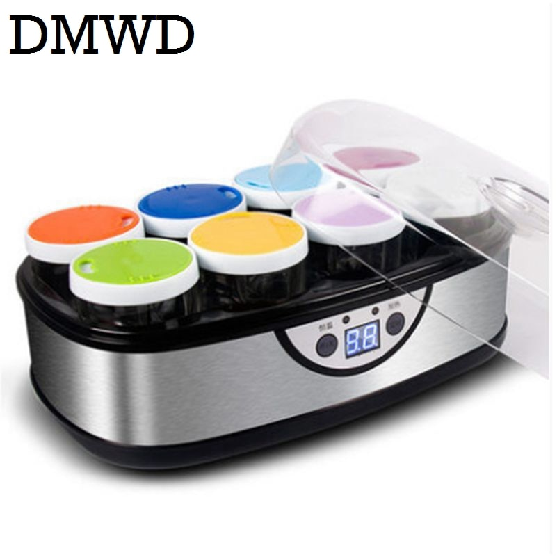 Máquina Eléctrica de Yogurt DMWD con 8 tazas de vidrio automática Leben Yogurt máquina de vino de arroz Buttermilk Sour Cream natto fermentador EU