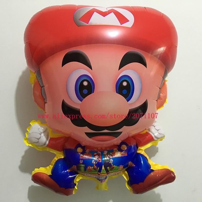 Lucky 50pcs/lot 60*45cm Super Mario Balloon Cartoon Classic Toys Mario Bros Foil Balloons Red Helium Birthday Decoration Globos