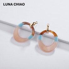LUNA CHIAO Bijoux fantaisie écaille de tortue acrylique Lucite boucle doreille grande goutte boucles doreilles pour les femmes