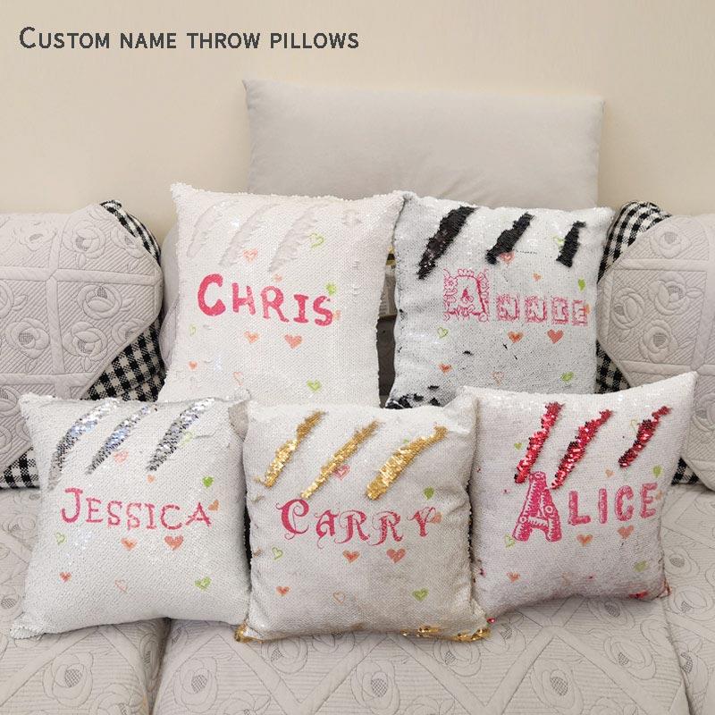 Модные наволочки на подушки Русалочки под заказ, подушки для домашнего декора, двусторонняя Волшебная наволочка с блестками, забавная наволочка для подушки J049