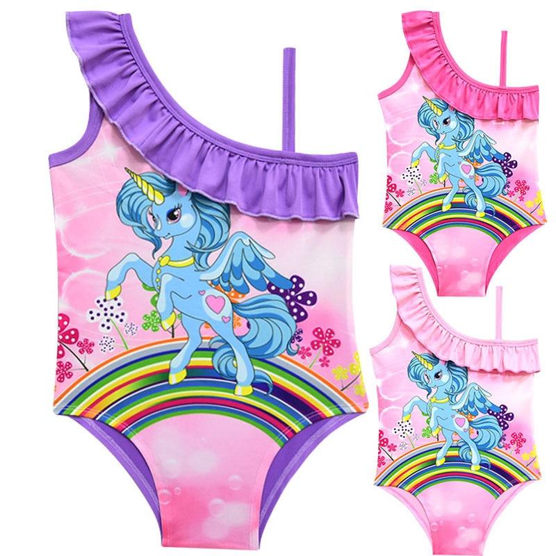 New 2-10 Years Girls Swimsuit One Piece Unicorn Children's Swimwear For Girls Swimming Beachwear Clothes Unicorn Swimsuit